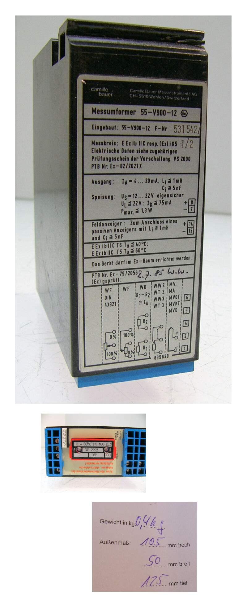 Camille bauer Messumformer 55-V900-12 PT100 VS2223