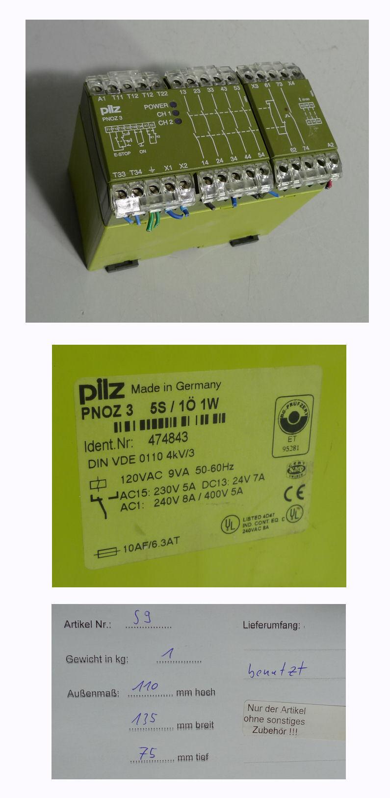 Pilz Pnoz 3 474843 120V