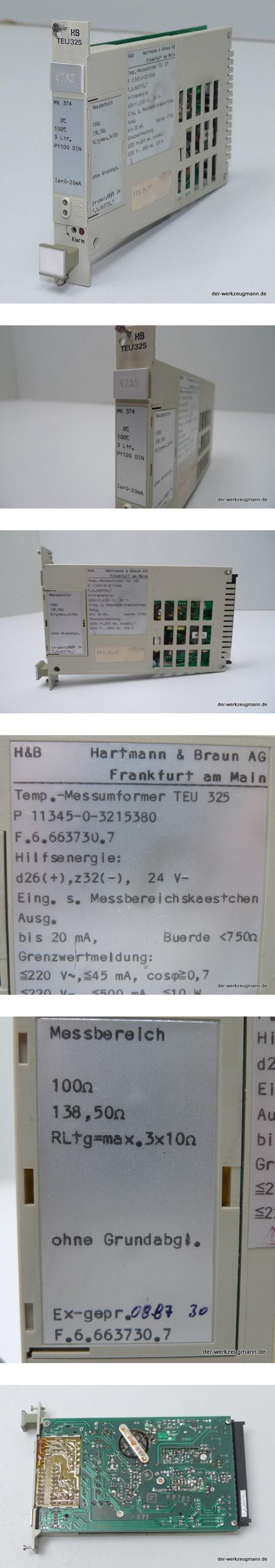 Hartmann & Braun TEU-325 MK 374 Messumformer PT 100 11345