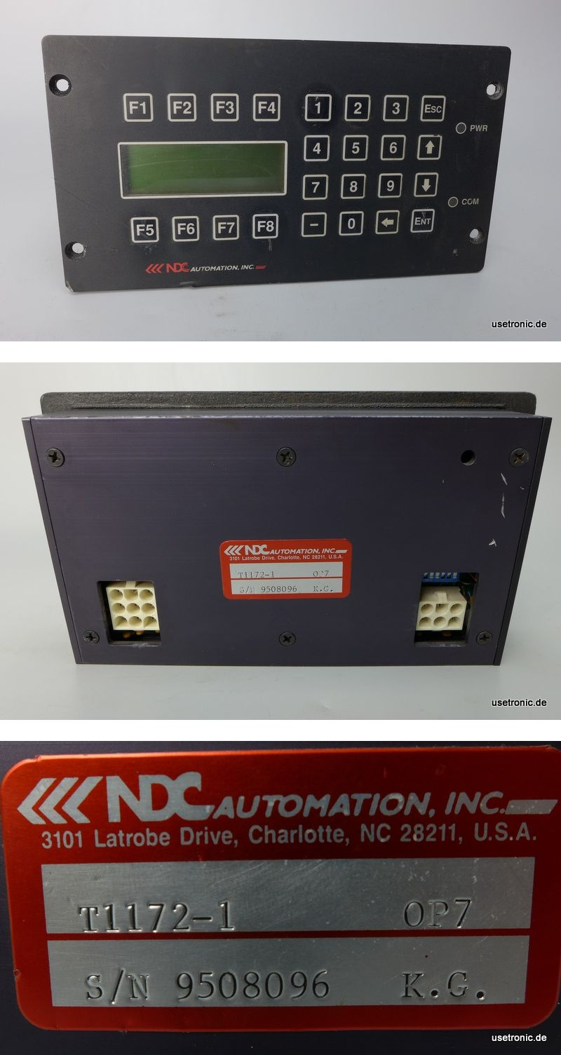 NDC Automation Panel OP 7 INC  T1172-1